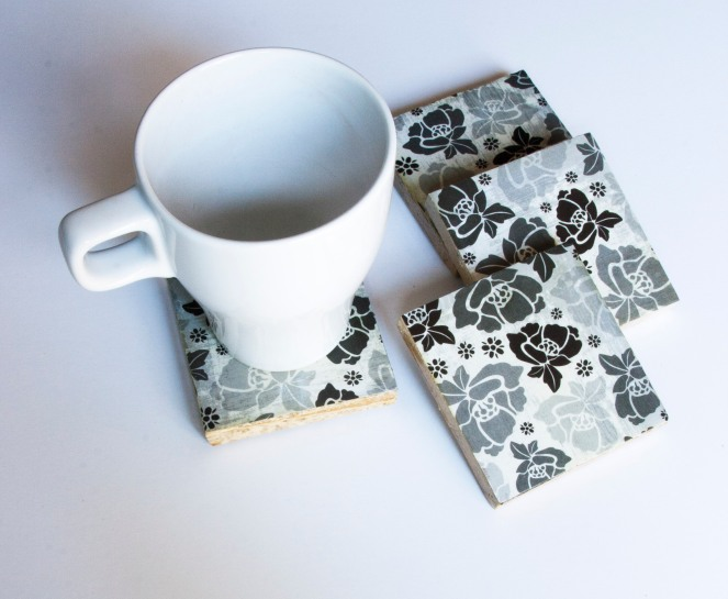 Black and White Flowers Coasters