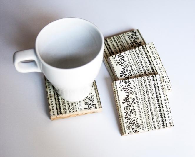 White and Black Stripes Coasters